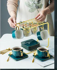 New Phnom Penh Coffee Cup Set European Small Luxury Céramique Afternoon Tea Tea Set ins Nordic Cup fer avec plateau boîte-cadeau