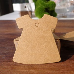 Lady Dress Shape Kraft Blank Party Kraft Cardboard Gift Tags Wedding Favor Paper Tags Price Label Party Hang Tags 200pcs