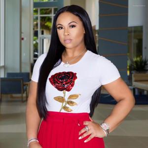 Fashion Slim Womens Tees Casual New Comfortable Females Clothing Floral Print Rose Womens Tshirts Short Sleeve