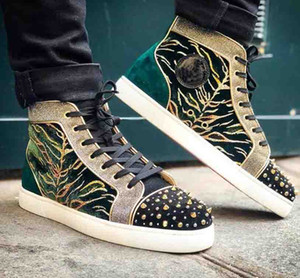 New Top Quality Red Bottom Men's Shoes Milkylous Bengal Velvet silk Sneakers Milkylou,Luxury Strass Spikes Genuine Leather High Top Boots