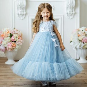 Light Sky Blue Appliqued Flower Girl Dresses For A Line Pleated Wedding Pageant Dresses Tulle Ankle Length First Communion Dresses