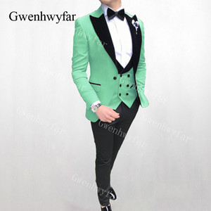 Gwenhwyfar Hellgrünen Samt Revers Anzüge Hochzeitsfeier Party Prom Männer Anzüge Fashion Business One Button Herren Anzüge 3 Pics