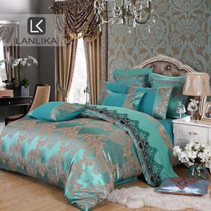 Lanlika Yorgan Yatak Tencel İpek Lüks Nevresim Nevresim Sıcak Satış Kraliçe Kral Çift Mavi Jakarlı Yatak Çarşafları Seti T200517 ayarlar