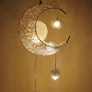 Modern Kolye Tavan Lambaları Ay Yıldız Avize Çocuk Yatak Odası Asılı Lamba Noel Süslemeleri ev Fikstür Aydınlatma Için