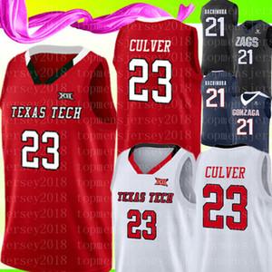 Yeni 23 Jarrett Culver Texas Tech Jersey 2019 Final Four TTU Kırmızı Beyaz Basketbol Formalar TTU Kırmızı Beyaz Formalar
