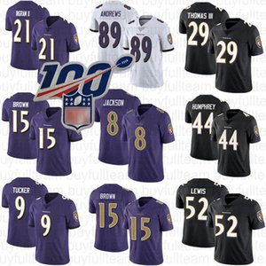 8 Lamar Jackson 15 Marquise Brown Baltimores corvo 52 Ray Lewis 21 Mark II Ingram 44 Marlon Humphrey 89 Mark Andrews 9 Justin Tucker Equipamentos