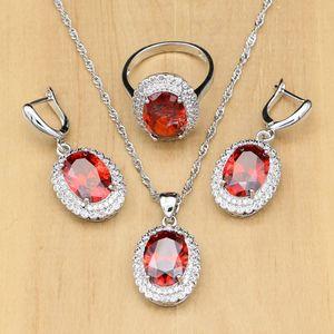Kadınlar Için 925 Gümüş Takı Setleri Kırmızı Birthstone Beyaz CZ Düğün Gümüş Küpe Bayanlar Küpe Damla Nakliye Için