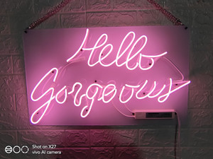 Star beauty neon sign Hello gorgeous neon lights 17inch Inches Real Glass Neon Sign Light for Beer Bar Pub Garage Room