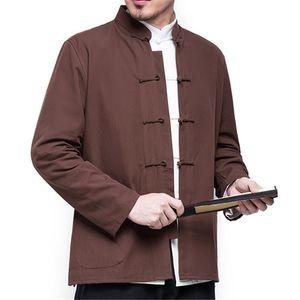 Automne Manteau « S style chinois Coton Lin hommes déliés Kimono Cardigan hommes solides Lin Couleur vêtement Veste Manteaux Taille M-5XL