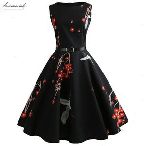 Floral Print Women Summer Dress 2020 Hepburn 1950S 60S Swing Vintage Dress A Line Party Dresses With Belt Jurken Plus Size