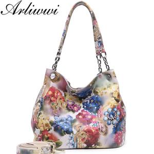 Arliwwi 100% Real Leather Shiny Colorful Blossom Luxury Platinum Half Chain Handle Mujeres Bolsos de hombro Moda Floral Bolso Y19061705