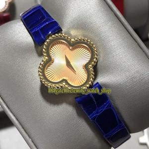 Meilleure version VAF douce Alhambra Série VCARO8WT00 Mouvement quartz suisse Montre femme saphir Trèfle à quatre feuilles en or 18 carats cas Lady Montres