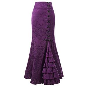 Sisjuly Femmes Court Vintage Lace Up Floral Jacquard Jupe Longue Sirène Pourpre Noir Gris Rouge Volants Printemps Eté Maxi Jupes Y19043002