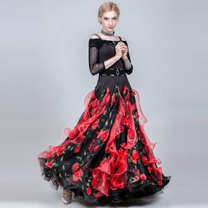 vestido de la franja vestido de la danza de salón de baile vals mujeres trajes de flamenca españoles bailan las mujeres del desgaste de impresión swing largo