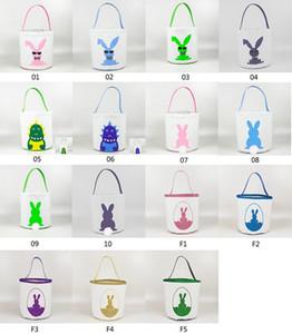 Cesti 15styles Easter Basket Easter Bunny sacchetti di immagazzinaggio Egg Candy Bucket Canvas Tote paillettes bagagli Easter Rabbit Borse GGA3189-4