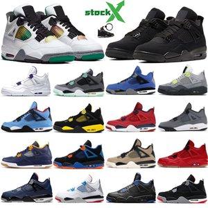 Nike Air Jordan 4 Retro Zapatos de baloncesto Hombres Puro Dinero Royalty Toro Bravo Raptors Gato negro Criado Oreo Fire Red Thunder Hombre 4S Zapatillas de deporte Zapatillas deportivas US8-13