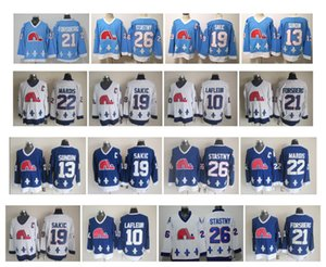 Jersey Vintage Québec Nordiques 13 Tapis Sundin 19 Joe Sakic 21 Peter Forsberg 26 Peter Starty 22 Mario Marois Blue Blanc Blanc Jersey de hockey CCM