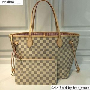 41605 Mm Handbag Damier Azur Canvas Shopping N Real Leather Iconic Shoulder Bag Totes Cross Body Business Bags