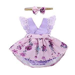 Mädchen Floral Strampler Kleid Baby Kleidung Sets Kinder Lace Flower Romper + Stirnband Bowknot gedruckt Pettiskirt Romper Kinder Sommer Outfits