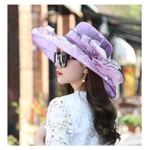 Mode Frauen Floral Organza Kirche Hut Breiter Rand Kentucky Derby Mesh Hüte Sommer Strand Sonnenhut Hochzeit Caps Sonnenschutz A1