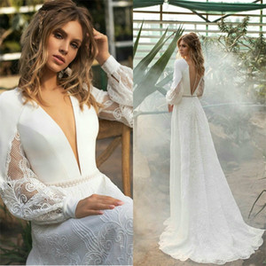 Elegant A-line Wedding Dresses Sexy V-neck Long Sleeve Appliqued Lace Ruched Satin Wedding Gown Custom Made Sweep Train Bridal Gown