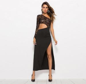 2019 nouveaux vêtements pour femmes Manches simples Angle d'épaule noir Dentelle Splicing Fork ouverture sexy robe femme Robes simples