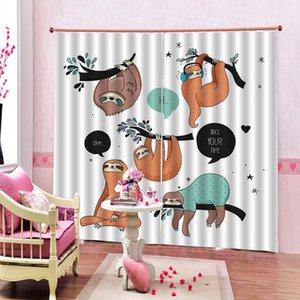 Imprimir Canguru dos desenhos animados Cortina Digital para sala de estar quarto de crianças blackout Janela cortinas Interior Decor customizável qualquer tamanho