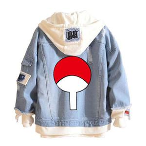 2019 뜨거운 판매 애니메이션 우즈 마키 나루토 스웨터 까마귀 카우보이 가짜 두 조각 스웨터 구멍 데님 남성 여성 자켓 코트