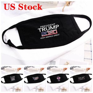 US Stock Trump Face Mask USA American President Election Cotton Mouth Trump 2020 Letter Printed Facial Protective Cover Party Designer Masks