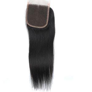 4-5 PCS 스트레이트 폐쇄 미처리 브라질 버진 헤어 스트레이트 머리카락 4X4 레이스 클로저