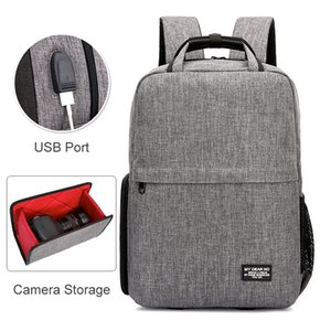Cheap Camera Video Bags Photo DSLR Camera Shoulders Waterproof Oxford Backpack fit for 14inch Laptop Case with USB Port Tripod Bag for Canon