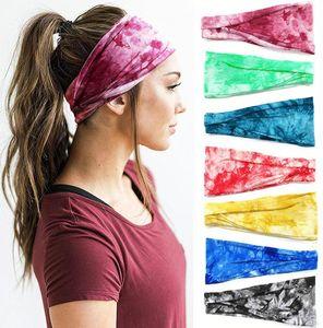 Tie-dye Sports Headband Mulheres meninas Cheerleaders Broadside Bandas Cabelo Sweat Headbands Yoga fitness Scarf Esporte Toalha 13 estilos