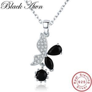 [BLACK AWN] 925 Sterling Silber Schmuck Halskette für Frauen-elegante Halsketten-Anhänger Modische natürliche Schmetterling K015