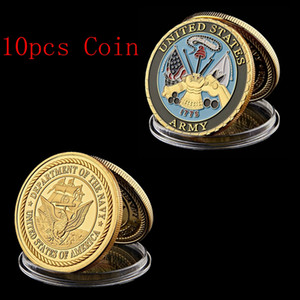 10pcs The United States Army Department Of Navy 1oz Gold Plated Core Values Military Challenge Coin Collectibles