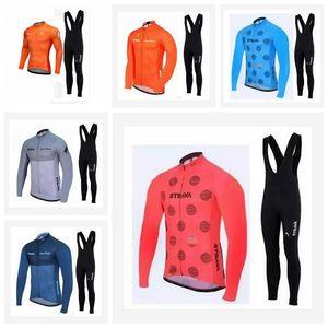 2019 İlkbahar Sonbahar Pro Team STRAVA Bisiklet Uzun Kollu Jersey Bisiklet Spor Giyim MTB Bisiklet Önlüğü Uzun pantolon set K013025