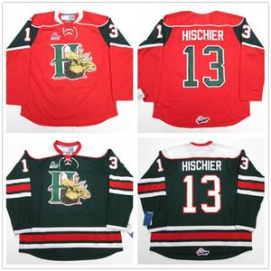 Halifax Mooseheads Nico Hischier # 13 CHL rouge rétro vert de hockey sur glace Jersey Cousu hommes Nom Numéro personnalisé Maillots