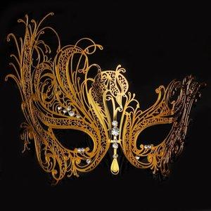 Female Metal Black Gold Silver Phantom Swan Rhinestone Venetian Masquerade Masks For Wedding Ball Mardi Gras Party Event XMAS