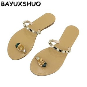 BAYUXSHUO New Pérola Plano Chinelos Verão Polly flip-flops Moda Casual Shoes Wild Women Outdoor doce sapatas lisas