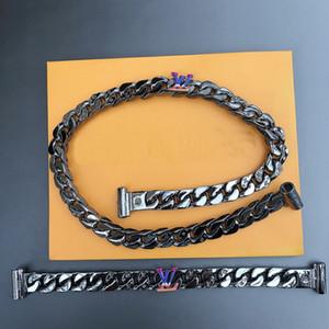 Nuevo llega el acero de la manera de hombres de titanio grabado V Iniciales Plata color negro Hardware grueso collar de la pulsera con el arco iris color del encanto 2054
