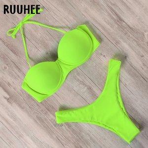 RUUHEE brasiliano Perizoma Bikini Set 2020 donne spinge verso l'alto bikini Solid Costume da bagno sexy dello Swimwear cinghie costume da bagno taglio alto Biquini