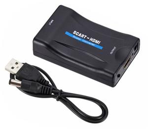 Convertidor Scart a HDMI de 1080p en caliente Entrada de Scart analógico de audio y video a salida HDMI Adaptador analógico a digital Caja de escala para HDTV DVD STB