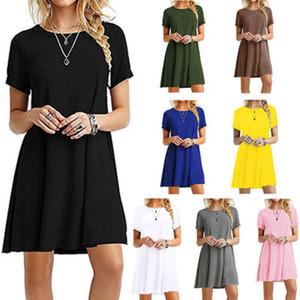 스팟 2020 유럽 단색 캐주얼 라운드 넥 풀오버 짧은 소매 쾌적한 거리 드레스, 혼합 배치를 지원