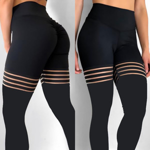 Mulheres Leggings Meias Emendados Malha Preta Leggins Oco Elastic Workout Grosso Ginásio Yoga Fitness Leggings Skinny