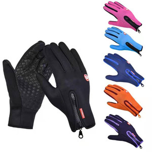 Outdoor Waterproof Gloves Touch Screen Men And Women Windproof Riding Gloves Zipper Sports Winter Warm Fleece Climbing Ski Gloves