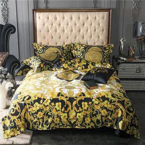 Luxo 100% Sets Egito Cotton clássico conjunto de cama de seda edredon tampa de cama Folha Fronhas Rainha King Size 4pcs Praça Almofadas