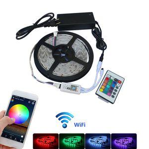 LED Lights bande, sans fil WiFi Smart Phone LED contrôlée 5M / 10M / 15M / 20M Lumières de travail avec Android et iOS système Strip lumière