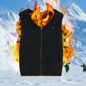 Elétrica Vest aquecida Jacket USB Quente térmica de calor Pad Inverno Warmer Corpo Unisex mangas Zipper Vest