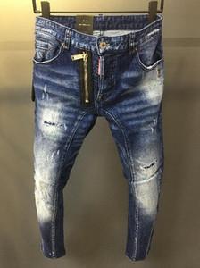 2019 Uomini di Hip Hop Blue Jeans Hole zip Biker jeans degli uomini sottili distrutti pantaloni in denim uomo violento strappato