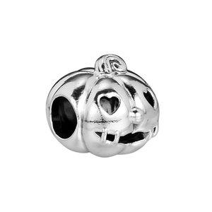 Новые оригинальные 100% 925 стерлингового серебра шариков Halloween Pumpkin Подвески приспосабливать европейский шарм браслеты Женщины Gify Diy Изготовление ювелирных изделий