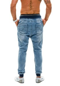 NEW High Quality Waist jeans Male European and American Explosion Models thread waist loose men's jogging pants S-3XL